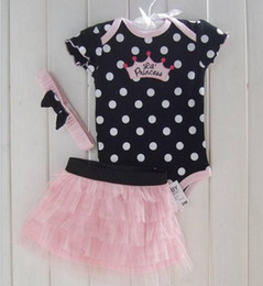Wholesale Girls Pc Dress Sets Princess Dot Leopard Rompers Tutu Dress Pants Bows Headbands T EMS Free