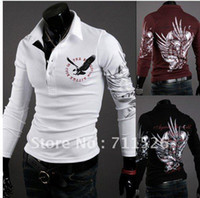 Wholesale the new fashion Eagle tattoo slim shirt men s top sell long sleeve POLO shirt designer T shirt