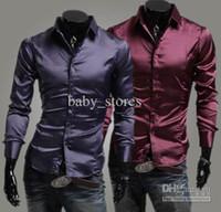 Casual Men Silk New style men shirts men Emulation silk shiny leisure men's long sleeve shirt 3 colours