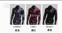 Casual Men Silk Men shirts men Emulation silk shiny leisure men's long sleeve shirt 3 colours