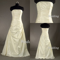 Reference Images White Strapless New Sexy Bridal Dress Strapless Taffeta Ruffle Sheath Long Sleeve Jacket Bridesmaid Wedding Gown 959