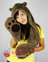 Wholesale Cartoon plush and gloves scarf one piece winter ear animal hat