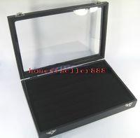 Wholesale BLACK GLASS TOP RING DISPLAY CASE BOX TRAY SHOWCASE