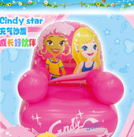 Wholesale JL03724 green plastic material cartoon princess pictures pink children s inflatable sofa