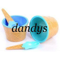Wholesale Couple homemade ice cream cups ice cream cup couple sets of cups with a special spoon FREE SHIPPI