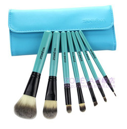 Wholesale 7 set makeup brushes Cosmetic Brush leather blue bag case brush set MB80