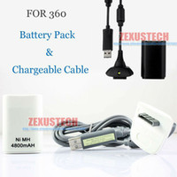 Wholesale 2 in Kit NI MH mAh Rechargeable Battery Pack For XBOX Controller USB Chager Cable For X