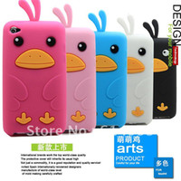 Wholesale 3D lovely small chicken Dusk Silicon e soft cover back Case for i touch