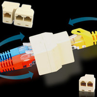 Wholesale 500pcs RJ45 P8C Y splitter Female Network Coupler Adapter to Female Female Spliter Coupler