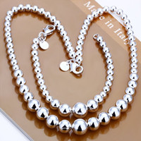 Wholesale Silver plated Ball chain Necklace amp Bracelet Jewelry Set S080 inch neckla