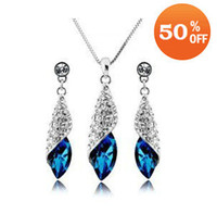Wholesale 18 colors Holiday Sale fashion18K Gold White Gold Plated Leaf Austrian Crystal Jewelry Set wedding j