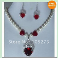 Wholesale White freshwater Cultured pearl amp heart Ruby Necklace earring jewelry set Fashion woman s jewelry se