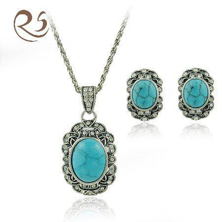 best quality turquoise jewelry set earring necklace at