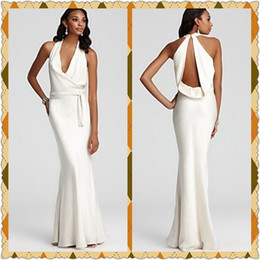 Wholesale Sexy Open Back Evening Dresses Fitted Halter V Neck Cowl Back Spandex Evening Gowns Long White Prom Dresses with Sash Formal Party Dresses