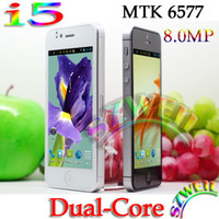Wholesale Goophone I5 I V5 S MTK6577 Dual Core Dual Sim Camera mpx with inch capacitive Android cell phone