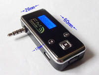 Wholesale Wireless FM Transmitter mm audio socket for iphone MP3 Mobile phone with microphone