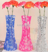 Wholesale Creative foldable vase PVC plastic vase fashion vase plastic flower vase beautiful unbreakable vase