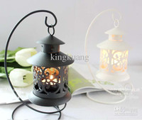 Wholesale Retro openwork pattern candle holders round candle lamp lantern table top candle