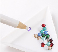 Nail Art Brushes bead pens wholesale - 10pcs Nail Art White Rhinestones Gems Picking Up Design Painter Bead Pencil PEN Tool