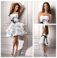 Wholesale White Organza Ball Gown Black Ribbon Design Sexy Short Wedding Dresses