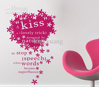 Wholesale heart shaped living room TV backdrop stickers romantic cartoon english words wall art stickers