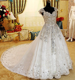 Wholesale 2015 Fashion Unique V Neck Swarovski Luxury Crystals Beads Catherdal Train Bridal Wedding Dresses