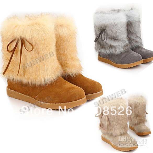 Women's Girl Winter Warm Mid Calf Bowknot Flat Heel Snow Boots Fur ...