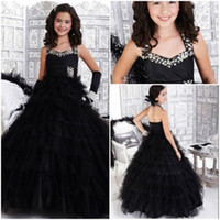 Wholesale Princess Girl dresses Black Swan Long wedding Flower girl Party dresses Halter A line Full length