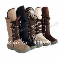 Wholesale 5 Colors Women s Girls Suede Mid Calf Winter Warm Snow Boots Round Toe Shoes Flat Boots shoes free s