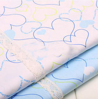 Wholesale African home textile lace fabric cotton material white amp blue color big heart design dyed brocade