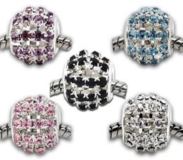 100pcs Mixed Hollow Rhinestone Beads Fit Charm Bracelet