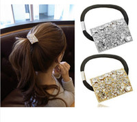 Wholesale 24pcs Women s Accessories Rhinestone Crystal Geometry Oblong Hair Band Ponytal Holder
