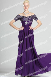 Wholesale Charming Off Shoulder Embroidery Chiffon Sheath Purple Mother of the Bride Dress