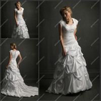 Wholesale Islamic Woman Wedding Dress Square Neckline Short Sleeve Embroidery Ivory Satin Muslim Wedding Gowns