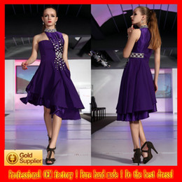 Wholesale New Design High Collar A Line Hi Lo Knee Length Crystal Sequin Homecoming Dress Graduation Dress