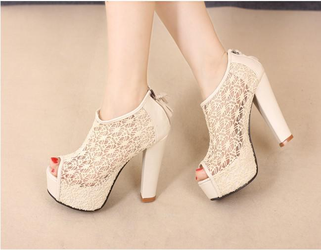 women hollow lace black bridal wedding shoes gril fish