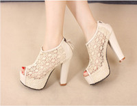 Wholesale Women Sexy Hollow Lace Lady Black Bridal wedding shoes gril Fish head Mouth High Heeled shoes
