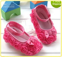 Wholesale Retail Rose flower Baby First Walker Shoes infant baby prewalker kids Antiskid shoes girls shoes KTJ X0034