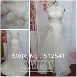 Wholesale y Gorgeousness Sweetheart Hand Made Flower Mermaid Champagne Organza Wedding Dress