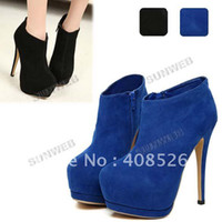 Wholesale Sexy High Heels boots faux suede drop shipping Round toe Platform boots shoes Black Blue free shippi