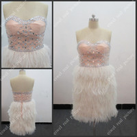 Wholesale Hot Sale Girls Feather Dress Mini Beaded Handmade Backless Zipper Low Price Ostrich Feather Cocktail Gowns