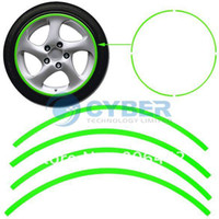 ABS Decals & Stickers Polyethylene terephthalate (PET) 16 Strips Green Reflective Rim Stripe Wheel Sticker Decal Tape For Auto Car Motorcycle Free Shipping