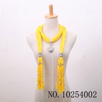 Wholesale Lady Pendants Scarf Jewelry scarf Popular soft Scarf Jewelry Elegant Pendant necklace Mix Colors