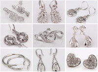 Wholesale Top Quality Mixed Styles K White Gold Platinum Plated Flat Multi Shapes Fine Earrings ER137