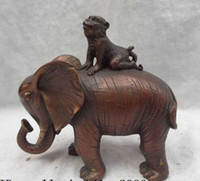 Wholesale China Pure Bronze Animals Sculpture JiXiang Monkey Ride Elephant Statue