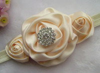 Wholesale New girl s headband quot Rolled Fabric Rosette Flower Roses with diamond Baby Headband