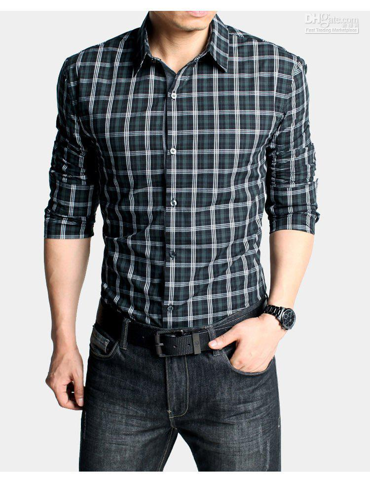 Top brand plaid dress shirts designer newest casual shirts for men