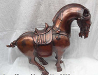 Carved horse statue - 20 quot Chinese Zodiac Red Pure Bronze Ainmals Sculpture Wealth Tang Horse Statue
