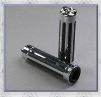 Wholesale 2 Motorcycle Handlebar Grip Chrome Rubber Skull quot NEW
