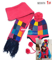 scarf material - MT33 Children hat scarf sets hat scarf Knitting materials Colorful grid Two color